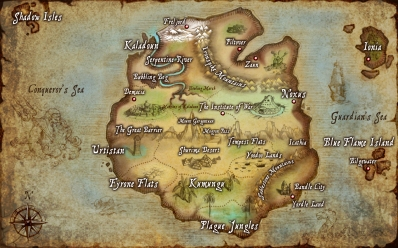 A map centered on Runeterra's main continent, Valoran.