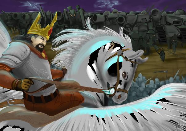 Jarvan III charging HexKorps Battle of Shurima