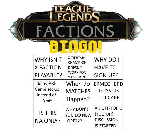 Factions Friday Bingo