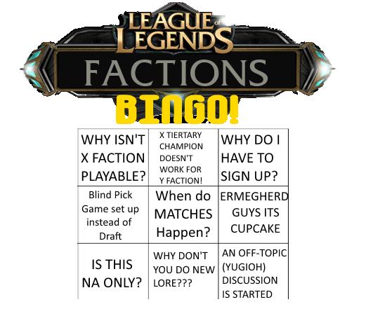 Factions Friday Bingo